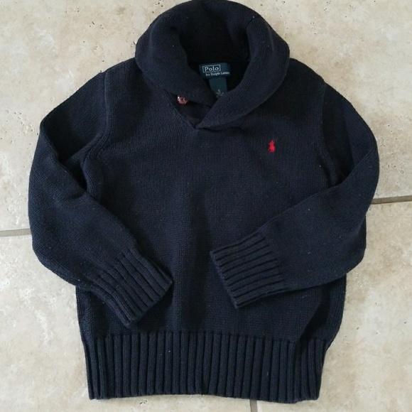 7145642da Boys Black S6 Ralph Lauren Shawl-collar Sweater
